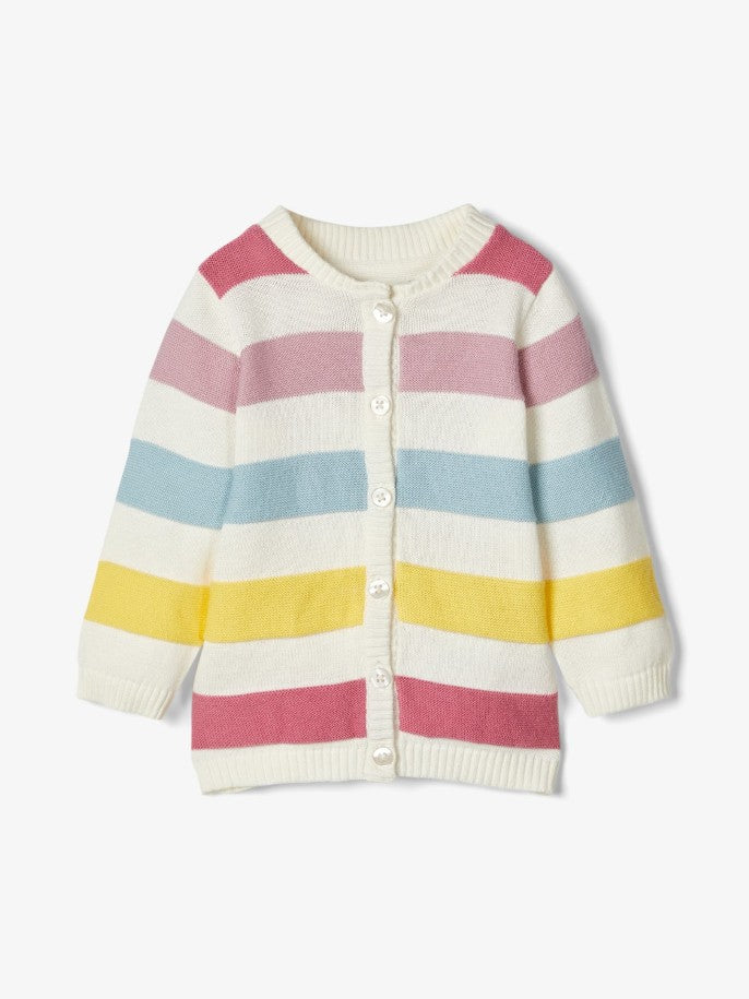 Name it Baby Girl Colourful Cotton Striped Cardigan