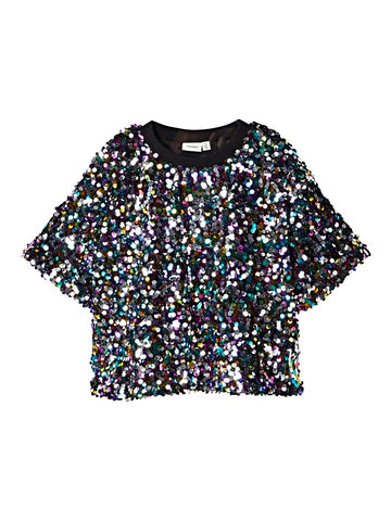 Name it Girls Oversized Sparkle Sequin Top