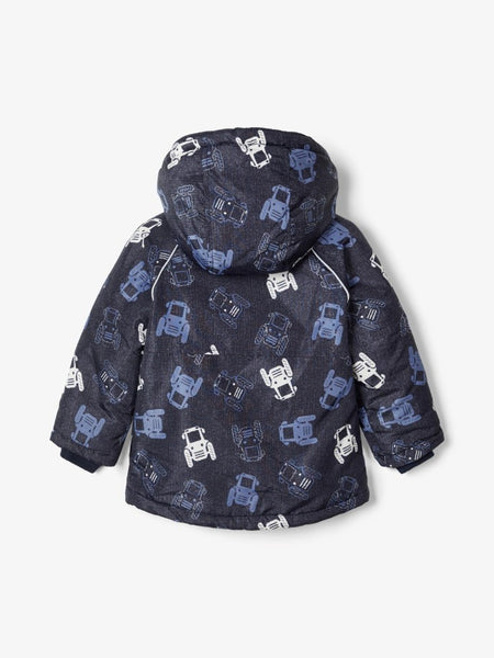 Name it Mini Boy Tractor Print Padded Winter Jacket