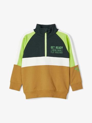 "Name it Toddler Boy High Neck Sweatshirt  ""Get Ready"""