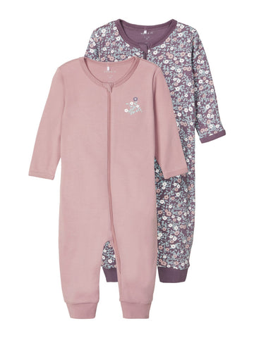 Name it Baby Girl 2-Pack Zip-Up Babygrows / Nightsuit