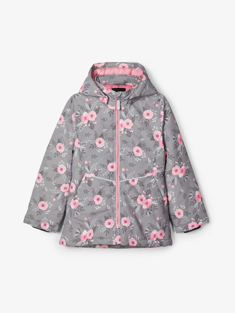 Name it Girls Floral Grey Padded Winter Jacket