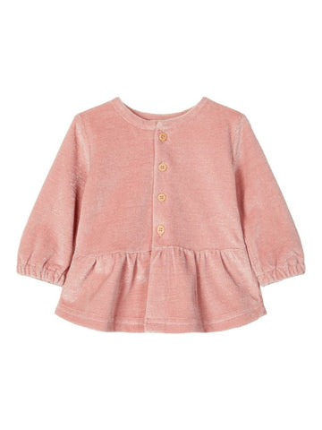 Name it Baby Girl Soft Velour Pink Cardigan