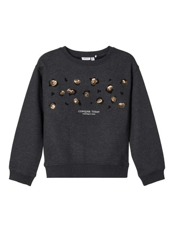 Name it Girls Sequin Embellished Black Sweatshirt