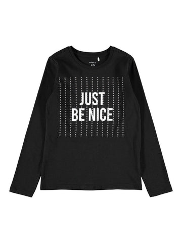 Name it Girls Diamante Long Sleeved Black Top