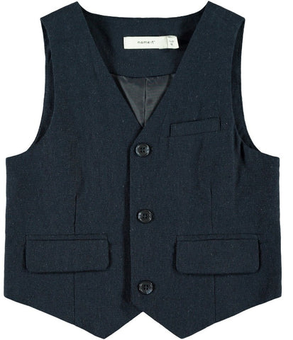 Name it Mini Boy Navy and Cream Waistcoat