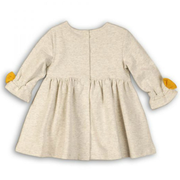 Minoti Baby Girl Long Sleeved Sweat Dress with Mustard Bows