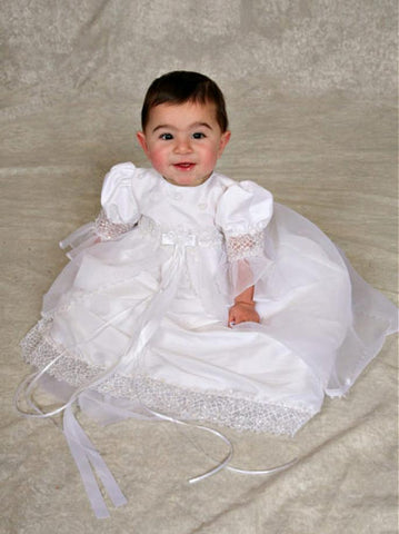 Sweetie Pie Taffeta Christening Gown with Floral Embroidery