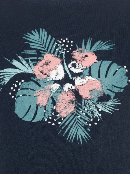 Name it Mini Girl T-Shirt with Flower Print in Navy & Pink
