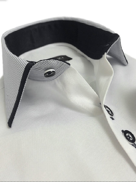 Boys White Shirt With Contrast Collar