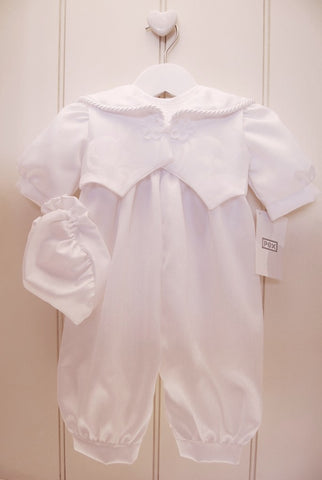 Baby Boy White Christening Romper Suit with Sleeveless Jacket