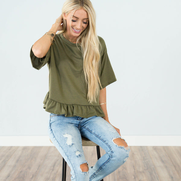 Kalynne Ruffle Top in Olive