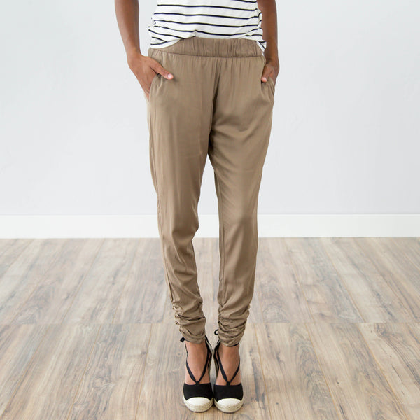 Cinched Taupe Pant