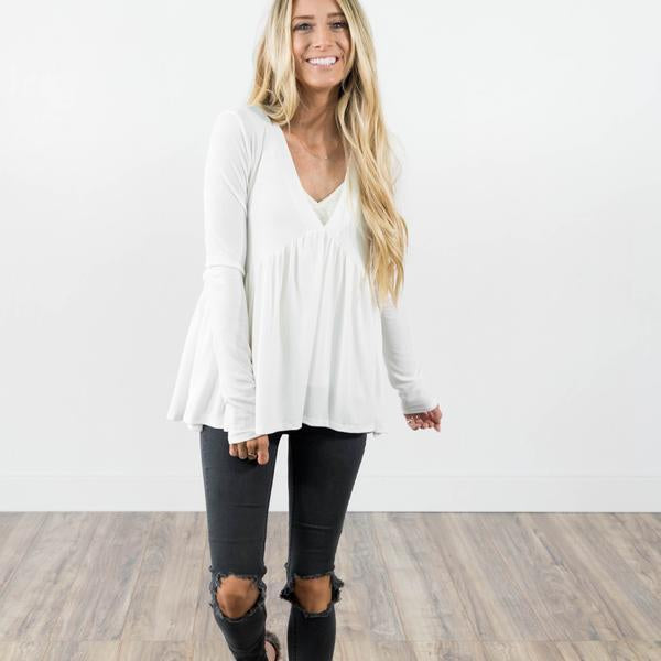 Laurette Baby Doll Top in Ivory Plus