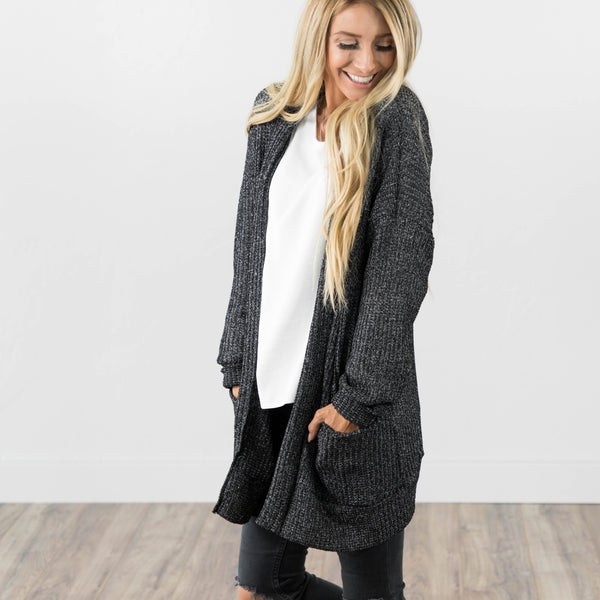 Chunky Knit Cardigan in Black