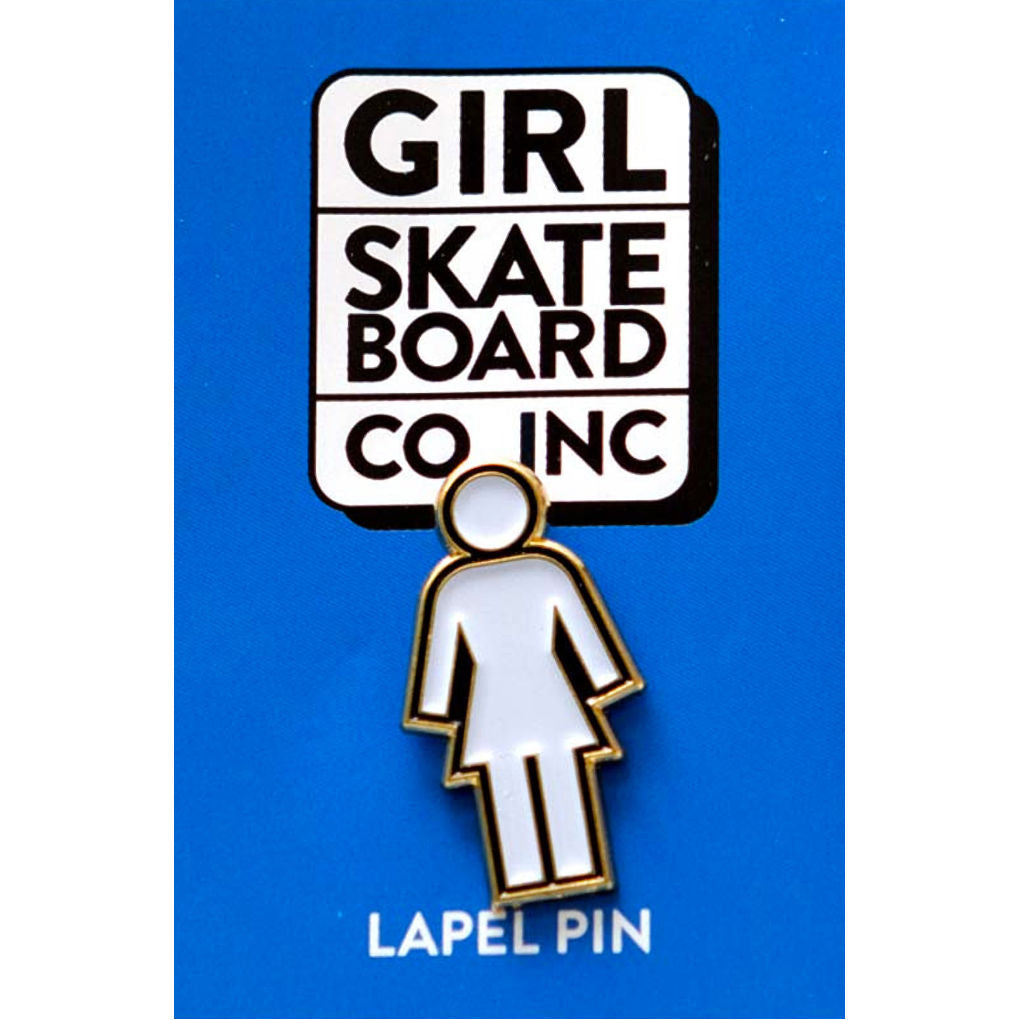 Girl Enamel Pin White