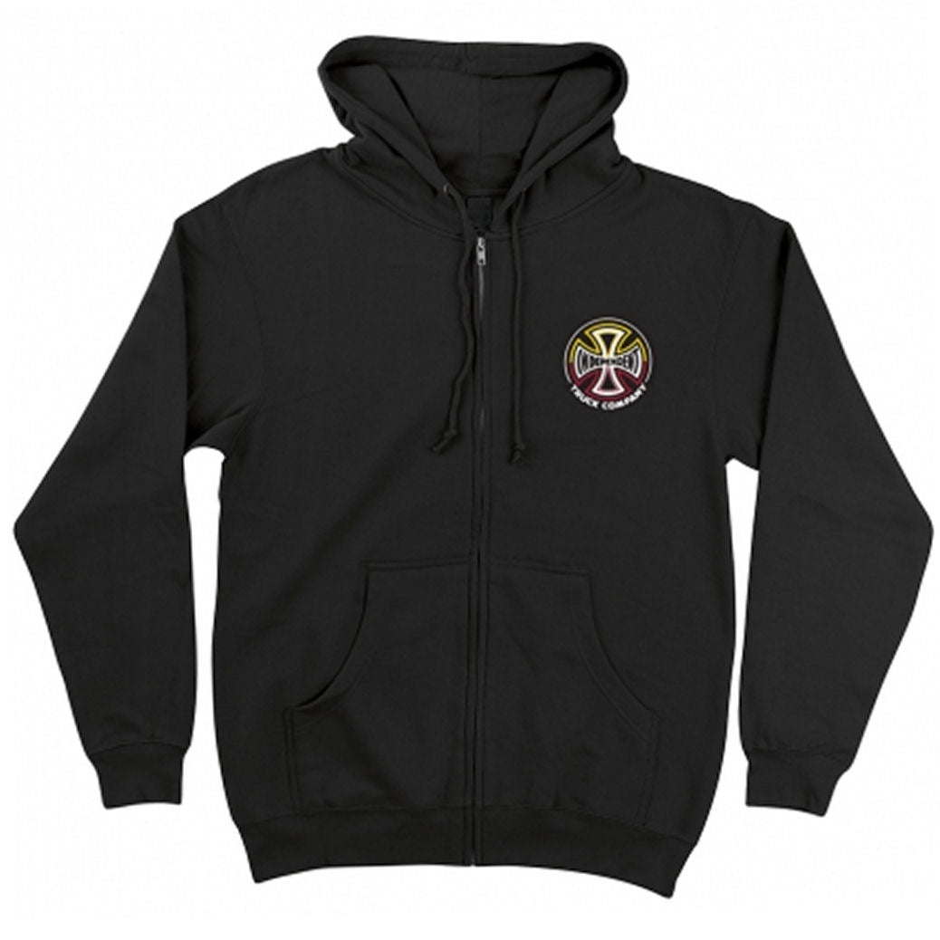 Independent Split Cross Zip Hoodie Black