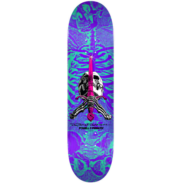Powell Peralta Skull And Sword Turquoise Purple 8.25""