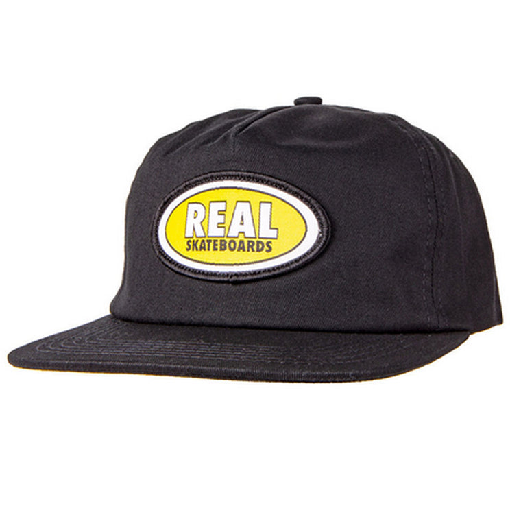 Real Oval Patch Hat Black Yellow