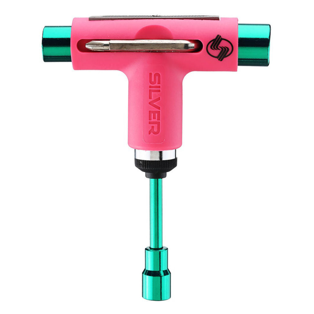 Silver Skate Tool Neon Pink Green