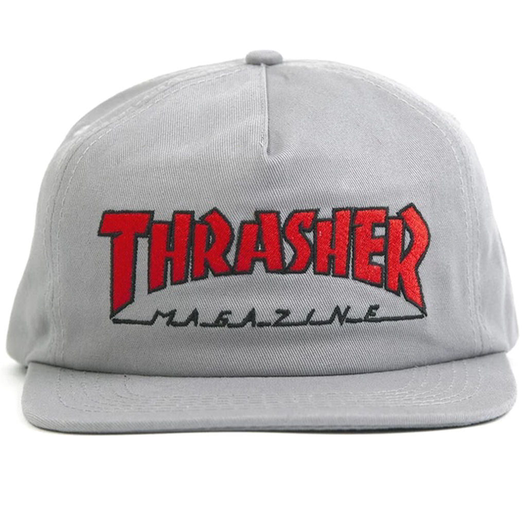 Thrasher Outlined Snapback grey red