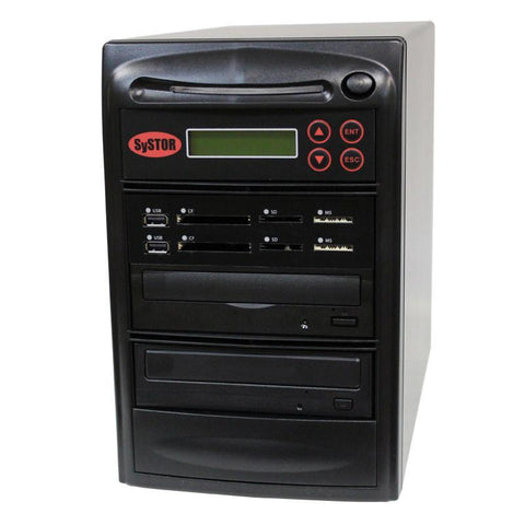 Systor MultiMedia Center PLUS - Flash Memory Drive (USB/SD/CF/MS/MMC) to Disc Backup + 1 to 1 SATA CD/DVD Duplicator - SYS01-P-MB
