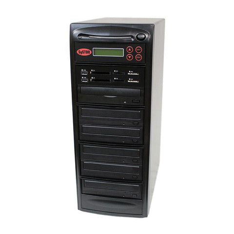 Systor MultiMedia Center PLUS - Flash Memory Drive (USB/SD/CF/MS/MMC) to Disc Backup + 1 to 5 SATA CD/DVD Duplicator - SYS05-P-MB