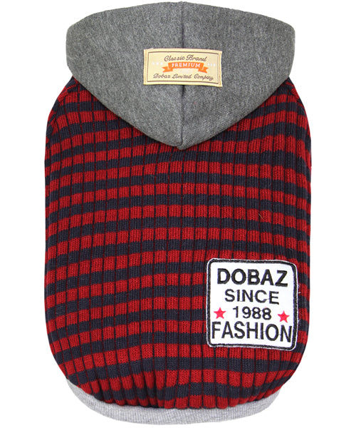 Striped Knit Hoodie Navy/Red