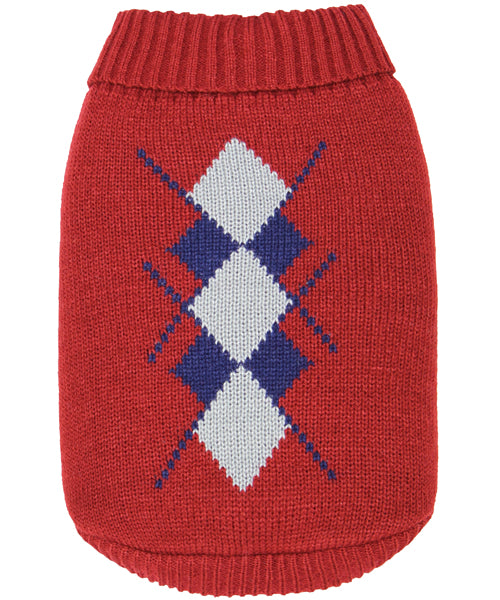 Argyle Sweater Navy/Red - Pupaholic.com