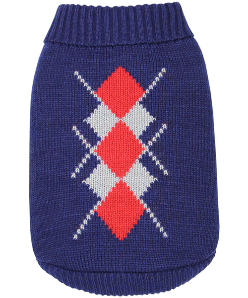 Argyle Sweater Red/Navy - Pupaholic.com