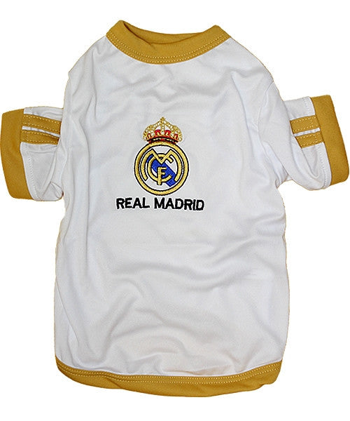 Real Madrid Dog Soccer Jersey - White - Pupaholic.com