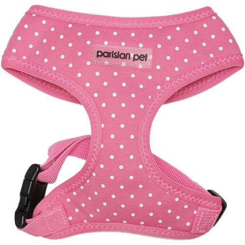 Dog Harness - Adjustable Polyester - Polka Dot Pink