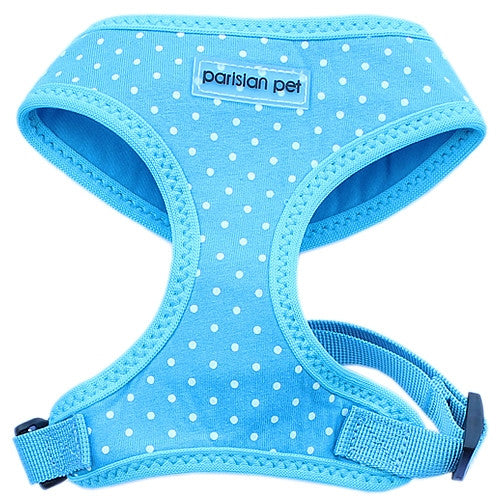 Dog Harness - Adjustable Polyester - Polka Dot Blue