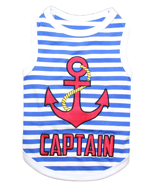 Blue Striped Dog Shirt - Captain