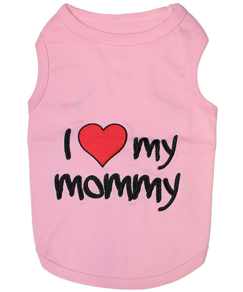 Pink Dog Shirt - I Love My Mommy