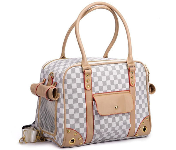 White Checkered Pet Carrier - Parisian Pet