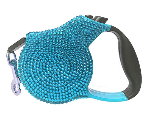 Crystal Retractable Leash - Blue - Pupaholic.com