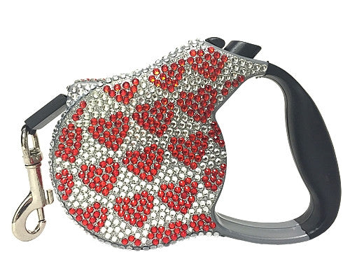 Crystal Retractable Leash - Hearts - Pupaholic.com