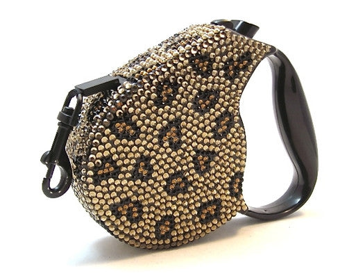 Crystal Retractable Leash - Leopard
