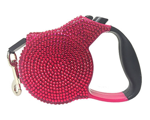 Crystal Retractable Leash - Pink