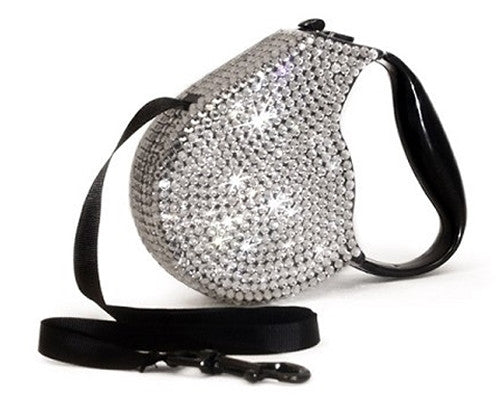 Crystal Retractable Leash - Silver
