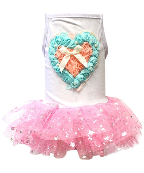 Hearts Tulle Dress Pink