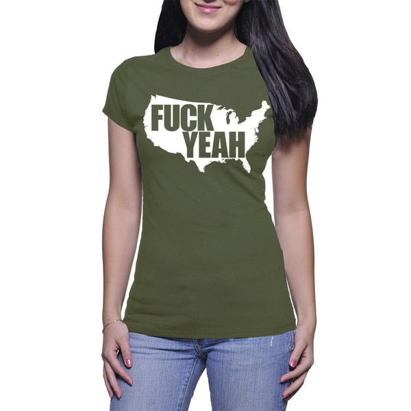 LADIES T-SHIRT - MILITARY GREEN - UNCENSORED