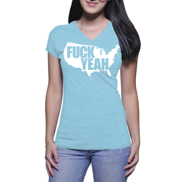 LADIES V-NECK TEE - BABY BLUE - UNCENSORED