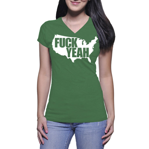 LADIES V-NECK TEE - GREEN - UNCENSORED