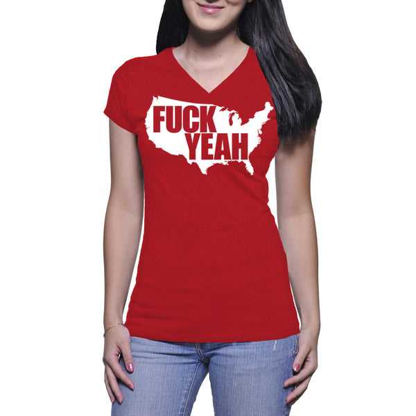 LADIES V-NECK TEE - RED - UNCENSORED