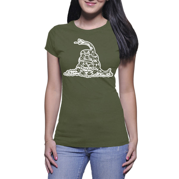 GADSDEN FLAG LADIES T-SHIRT - MILITARY GREEN