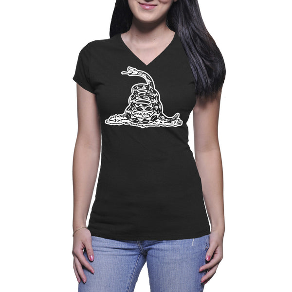 GADSDEN FLAG LADIES V-NECK TEE - BLACK