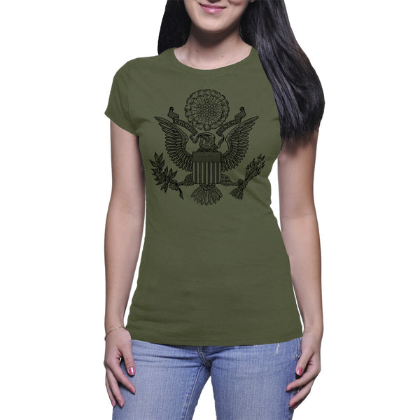 GREAT SEAL LADIES T-SHIRT - MILITARY GREEN