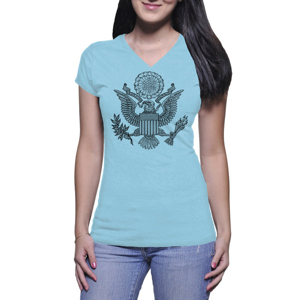 GREAT SEAL LADIES V-NECK TEE - BABY BLUE